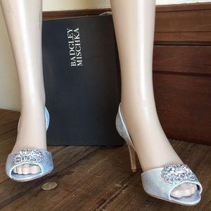 Badgley Mischka Silver Metallic Bridal Shoes